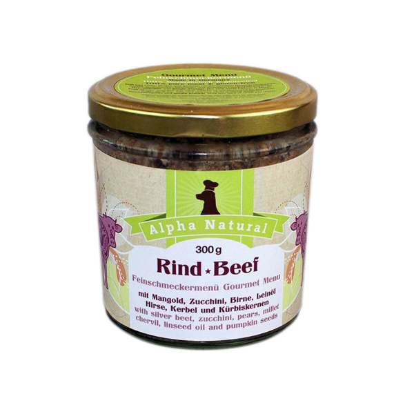 weide-rind-300g-purinarmes-glutenfreies-hundefutter-glas-muskelfleisch-mangold-zucchini-birne-leinöl-hirse-kerbel-kuerbiskerne-alpha-natural