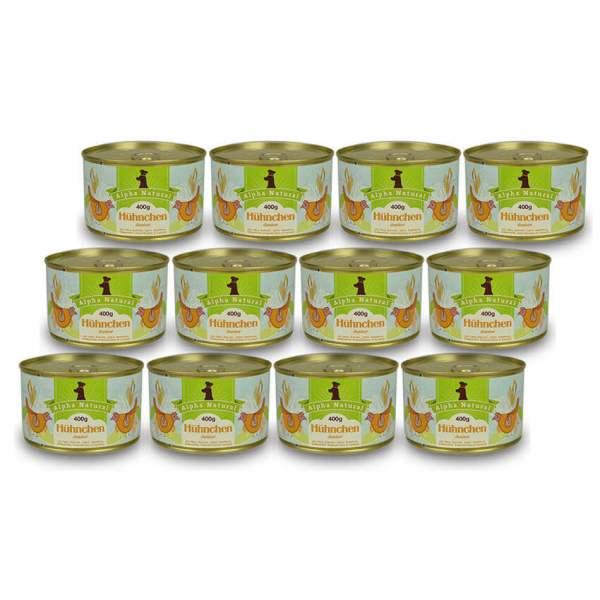 freiland-huehnchen-junior-400g-12er-sparpaket-purinarmes-glutenfreies-hundefutter-dose-muskelfleisch-okra-karotte-apfel-sanddorn-vollkornreis-kokos-lachsoel-alpha-natural