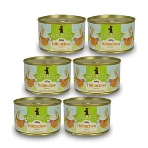 freiland-huehnchen-junior-400g-6er-testpaket-purinarmes-glutenfreies-hundefutter-dose-muskelfleisch-okra-karotte-apfel-sanddorn-vollkornreis-kokos-lachsoel-alpha-natural
