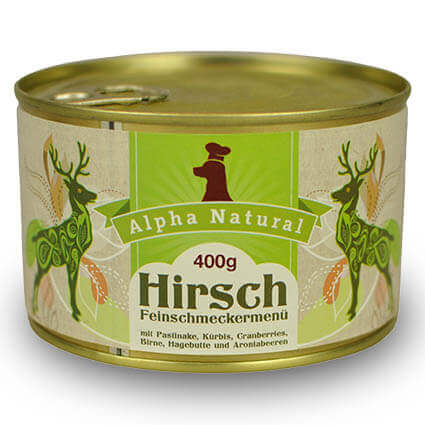 hirsch-400g-getreidefreies-purinarmes-glutenfreies-hundefutter-dose-muskelfleisch-pastinake-kuerbis-cranberries-birne-hagebutte-aronia-alpha-natural