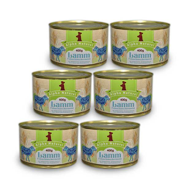 weide-lamm-400g-6er-testpaket-getreidefreies-purinarmes-glutenfreies-hundefutter-dose-muskelfleisch-suesskartoffel-schwarzwurzel-rote-beete-preiselbeere-alpha-natural