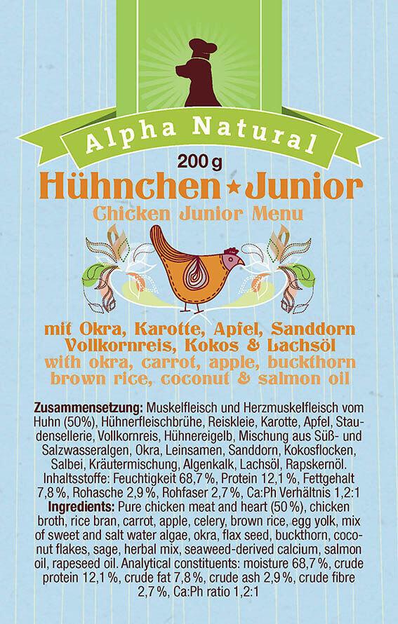 freiland-huehnchen-junior-zusammensetzung-purinarmes-glutenfreies-hundefutter-muskelfleisch-okra-karotte-apfel-sanddorn-vollkornreis-kokos-alpha-natural
