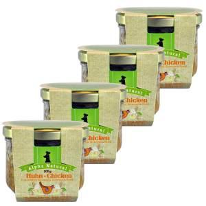 freiland-huhn-200g-4er-testpaket-purinarmes-glutenfreies-hundefutter-glas-muskelfleisch-okra-karotte-apfel-sellerie-pfefferminze-vollkornreis-alpha-natural