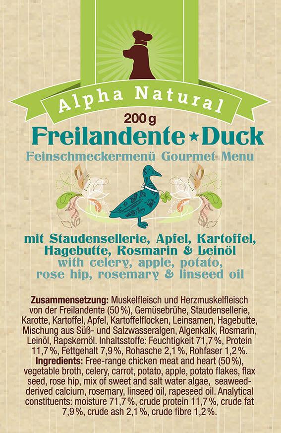 freiland-ente-zusammensetzung-purinarmes-getreidefreies-hundefutter-muskelfleisch-sellerie-apfel-kartoffel-rosmarin-hagebutte-alpha-natural