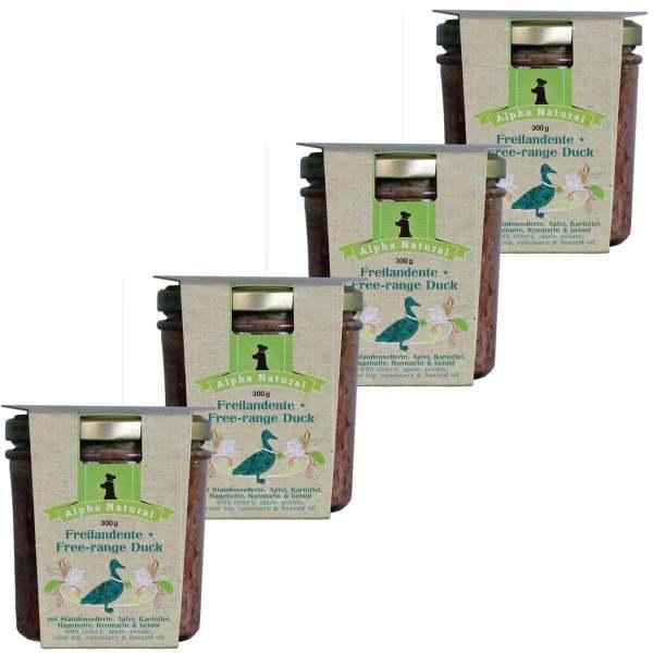 freiland-ente-300g-4er-testpaket-purinarmes-getreidefreies-glutenfreies-hundefutter-glas-muskelfleisch-sellerie-apfel-kartoffel-hagebutte-rosmarin-leinöl-alpha-natural