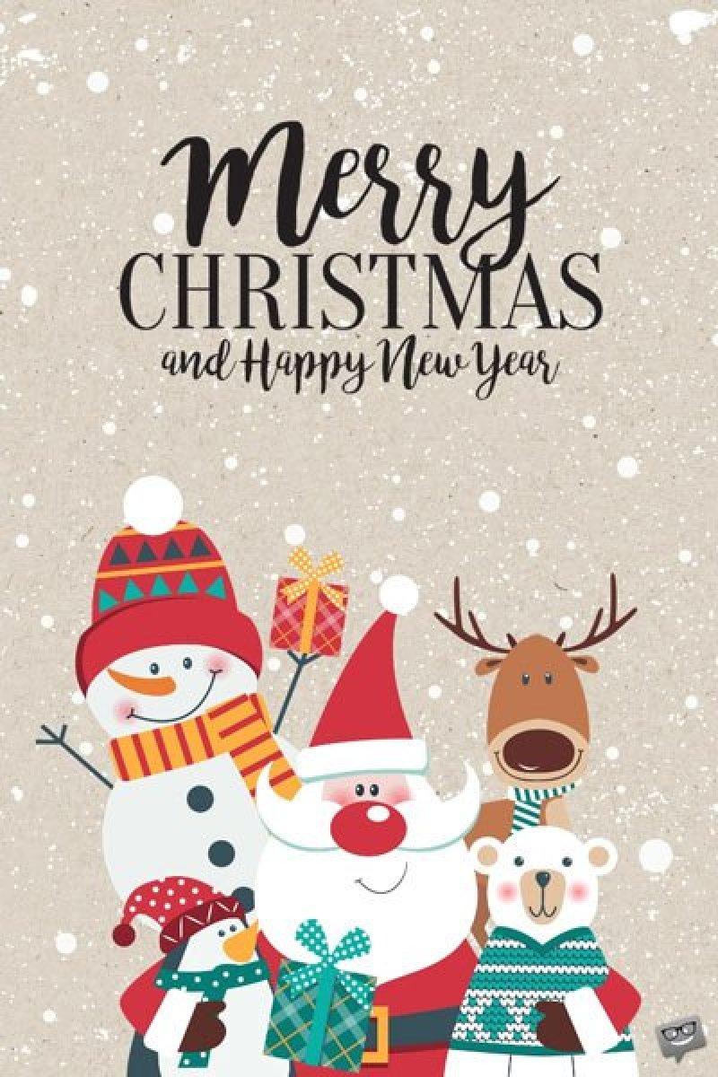 Christmas image with santa and snowman