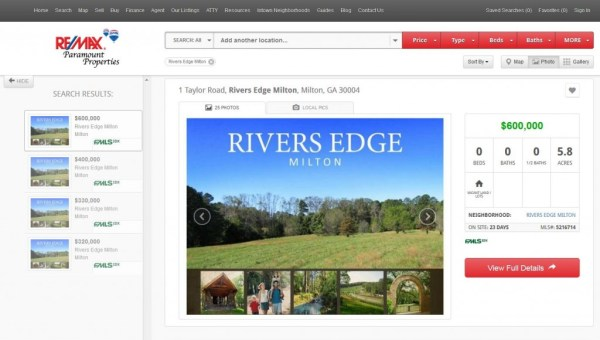 Rivers Edge Milton Land Lots For Sale Georgia