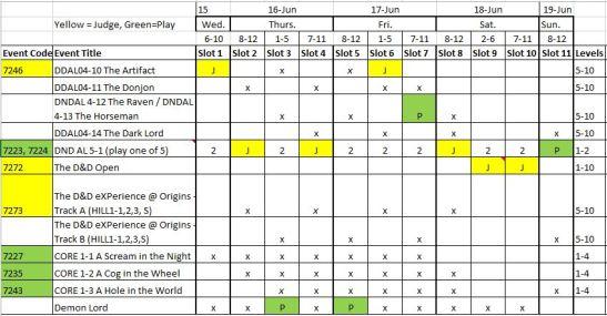 Origins schedule