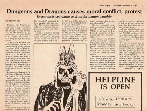 "Image of a newspaper with the headline ""Dungeons and Dragons causes moral conflict, protest."""