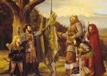 Adventurers pose next to a young dragon, in this classic art by Larry Elmore.