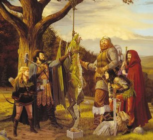 A party poses by the small dragon they have defeated, in this classic image by Larry Elmore.