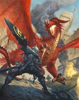 The incredible cover to Siege of Gardmore Abbey shows a warrior facing a red dragon... which sprang from a card in the Deck of Many Things!