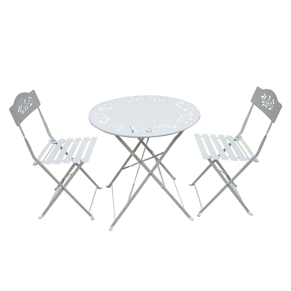 White Metal Chair White Metal Bistro Set Table And Two Chairs