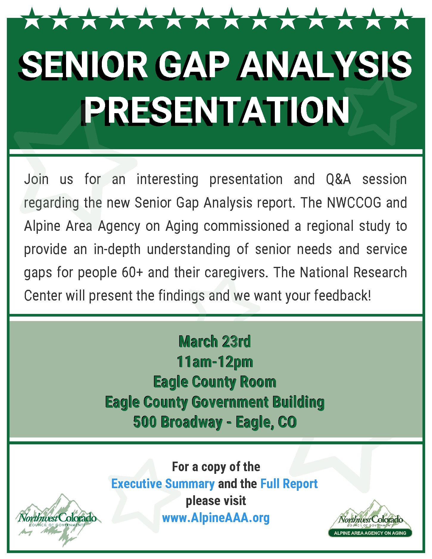 Senior Gap Analysis Presentation | Alpine Area Agency on Aging