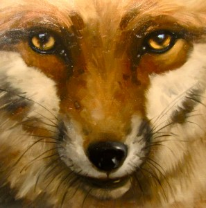 Fox, oil painting, Angela Woods