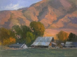 Oil painting, wellsville, barn