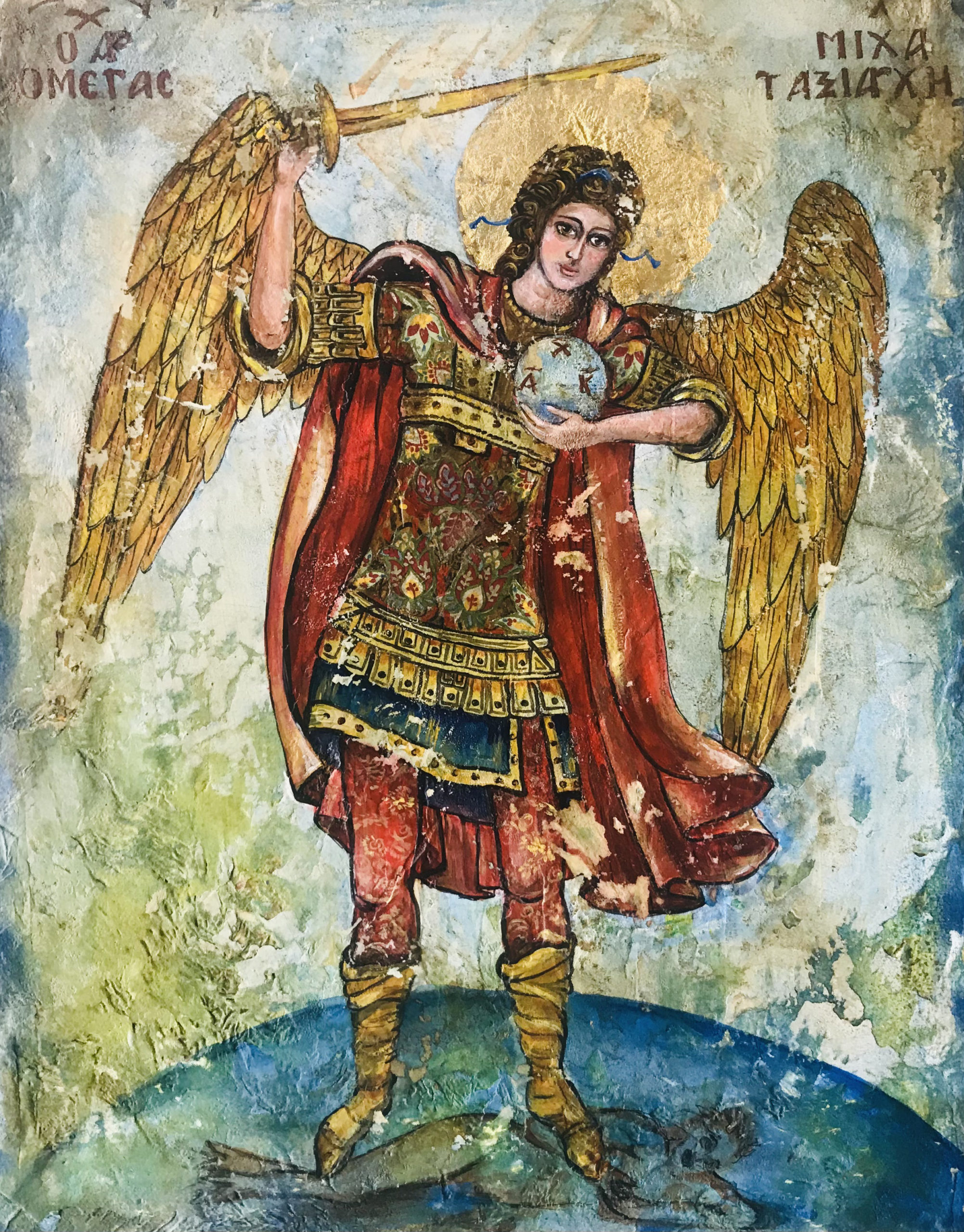 Mixed Media art, Archangel Michael