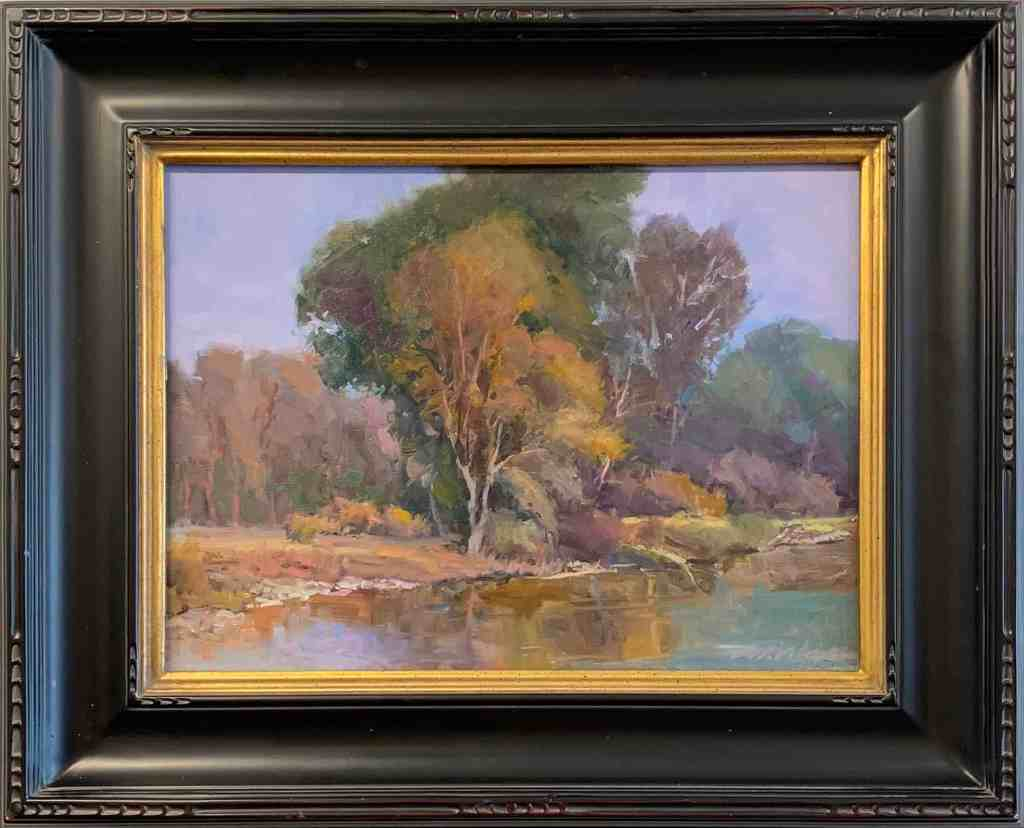 Oil on Linen Landscape river trees