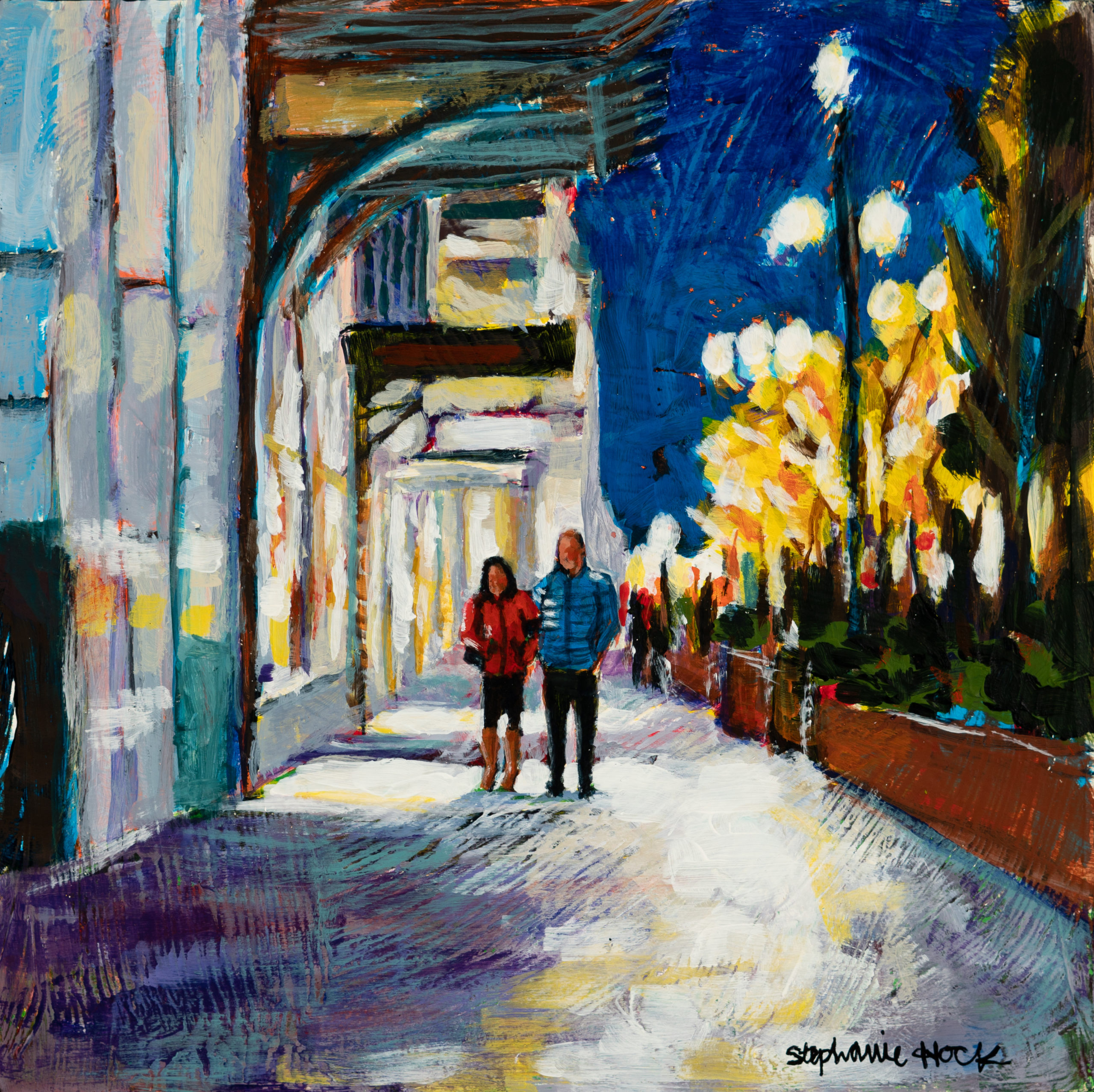Acrylic painting, downtown, night out on the town