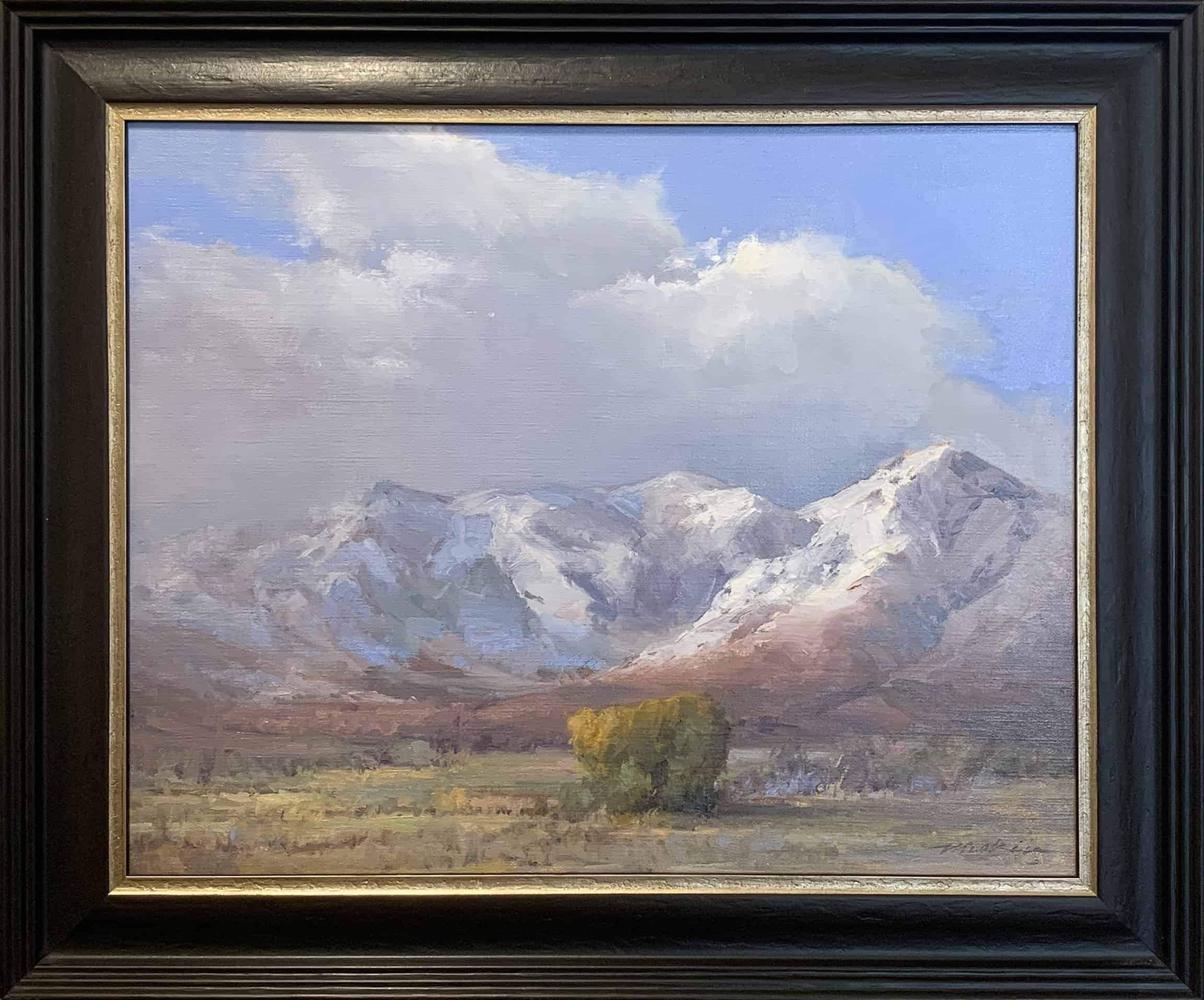 Oil on Linen Landscape painting mountains snow