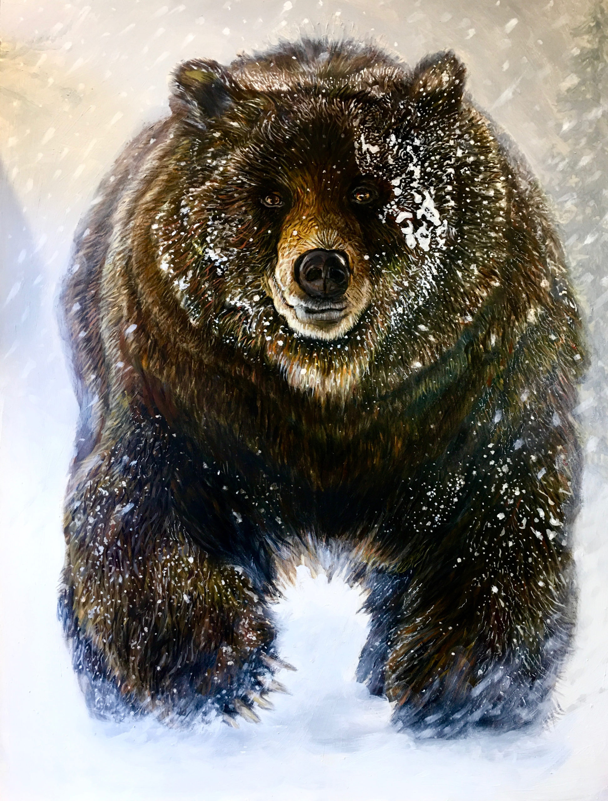 oil painting, brown bear