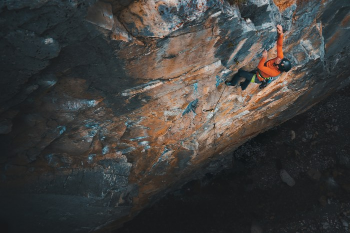 "Sarah Purchase climbing ""Fresh Start"" 5.11d in Cougar Creek, Canmore Alberta"