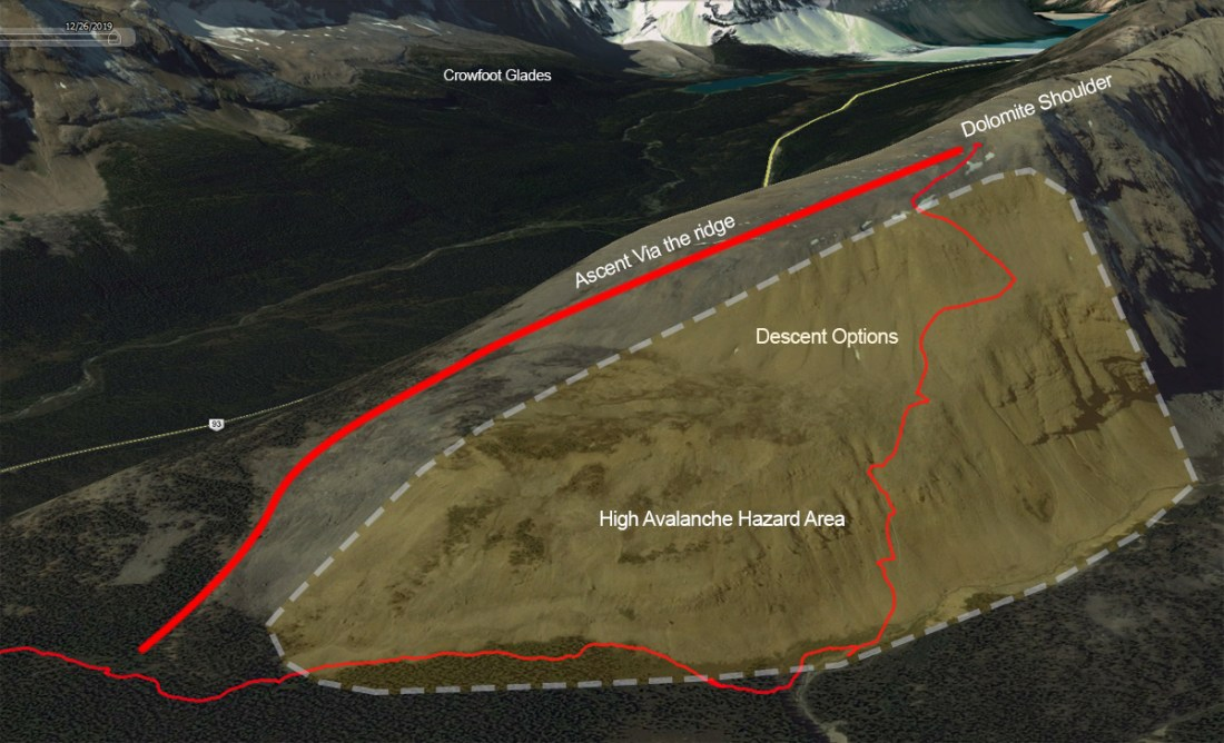 Dolomite Shoulder overview showing descent.