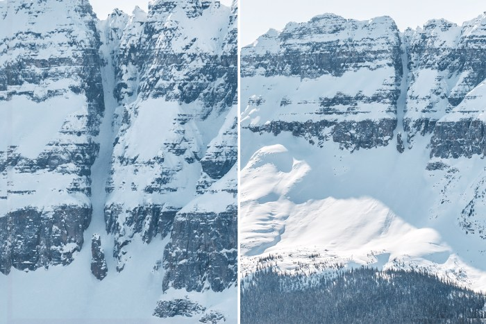 Detailed view of the Grand Daddy Couloir in Banff National Park