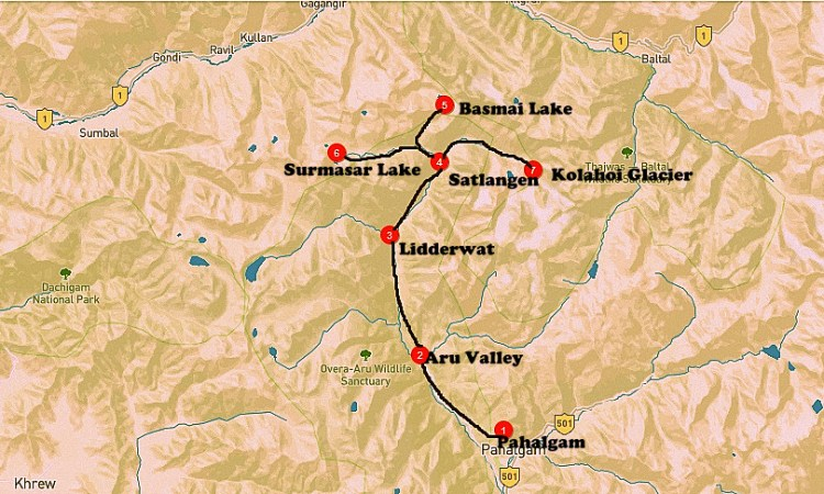 Kolahoi glacier and Basmai lake trek map