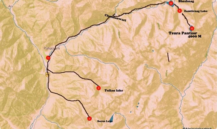 Pahalgam alpine lakes trek map