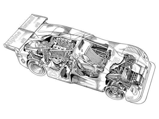 Alpine A441 1974 ecorche : cutaway