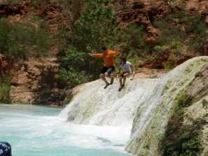 While hiking down the Havasupai water falls, my wife and I spent a lot of time building up the kids confidence to climb the waterfalls, one of which is 200 feet. Some of the falls are short enough and have deep pools so you can jump from the top of the fall to the water below. By the fourth day, one of our daughters, ten at the time, had built up the courage to jump from a 20 foot fall with me. There was a time, several years ago, that while rock climbing, she was afraid to let go of the wall after reaching the top to be lowered, but all of the time we spend building up their strength and confidence in their abilities allowed us to share this moment.