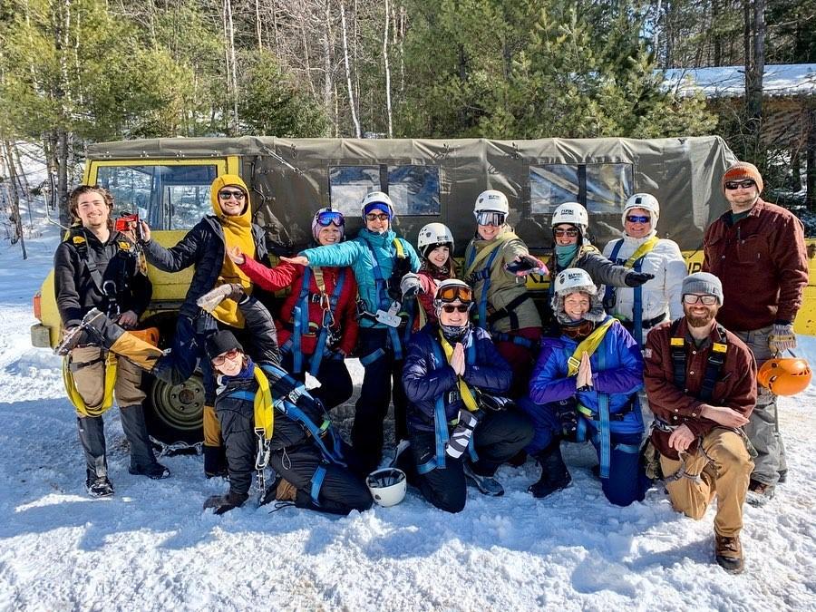 Winter Ziplining Group Photo