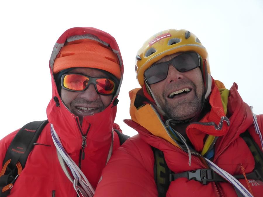 Ramsden and Bullock on the summit. [Photo] Nick Bullock
