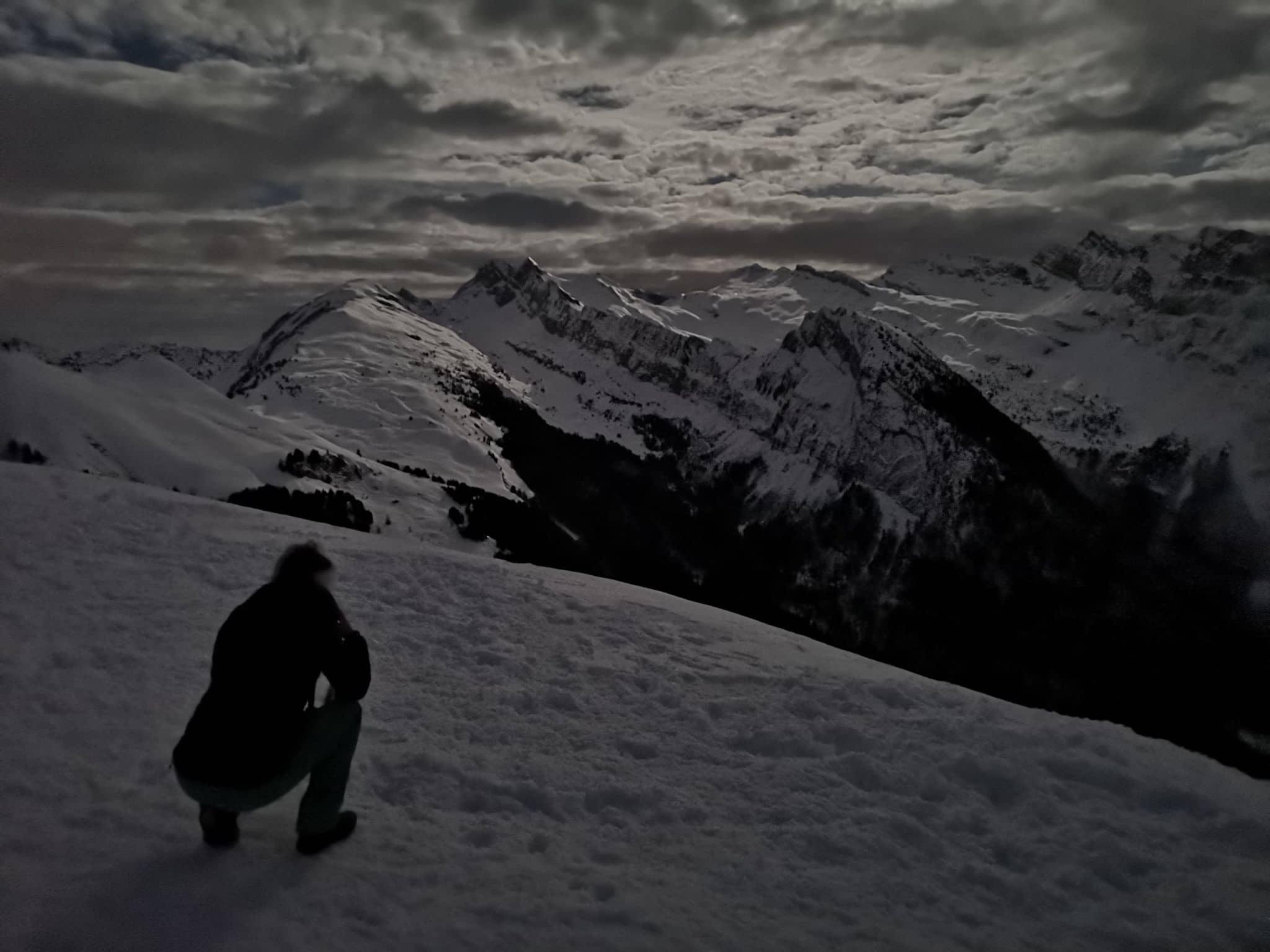 balade nocturne raquettes photo hiver