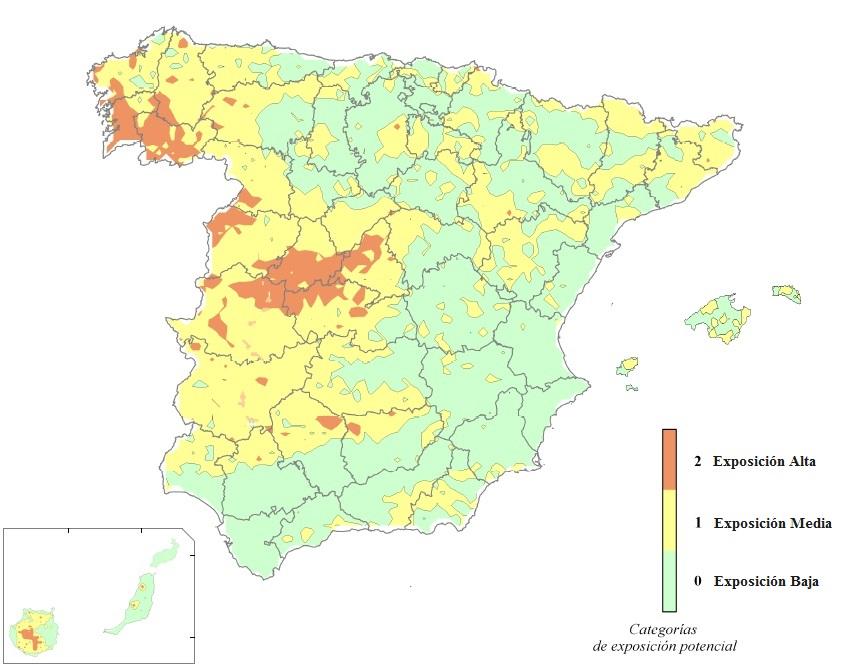 Mapa de radiación gamma natural en España