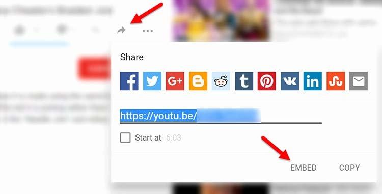 YouTube'da embed koduna böyle ulaşılıyor.