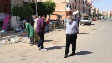صورة رئيس جهاز مدينة السادات يقود حملة لإزالة الإشغالات بسوق المنطقة السكنية الرابعة