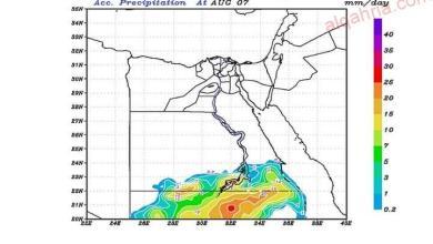 صورة امطار متوسطة الشدة علي السواحل الجنوبية للبحر الأحمر