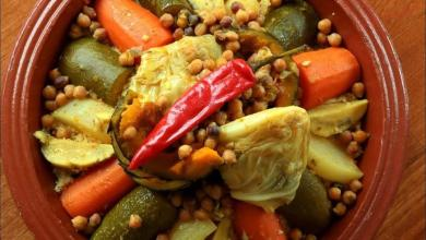 صورة الخضروات المغربى مع الكسكس بالبرتقال والنعناع
