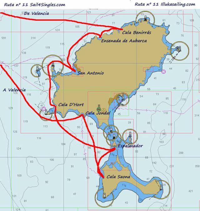 Itinerario en veleros por las calas de Ibiza, Formentera y Espalmador
