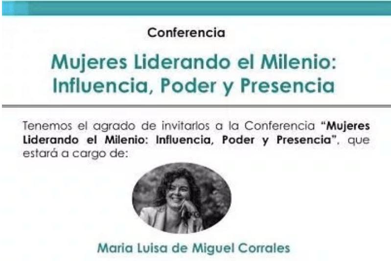 """12 Junio imparto conferencia en Peru """"Mujeres Liderando el Milenio: influencia, poder y presencia"""""""