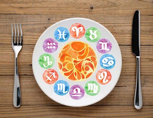 plato con los simbolos del zodiaco