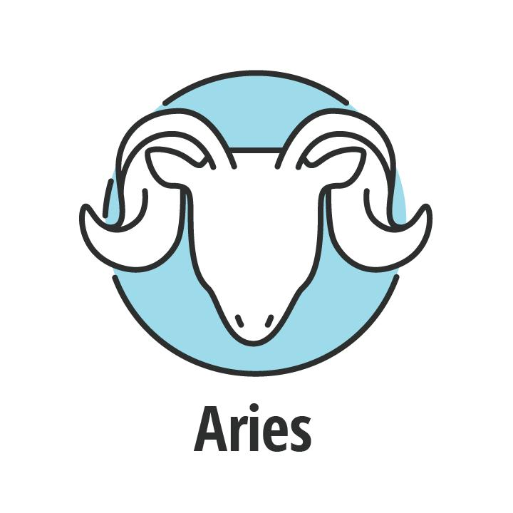 Signo zodiaco Aries en fondo azul.