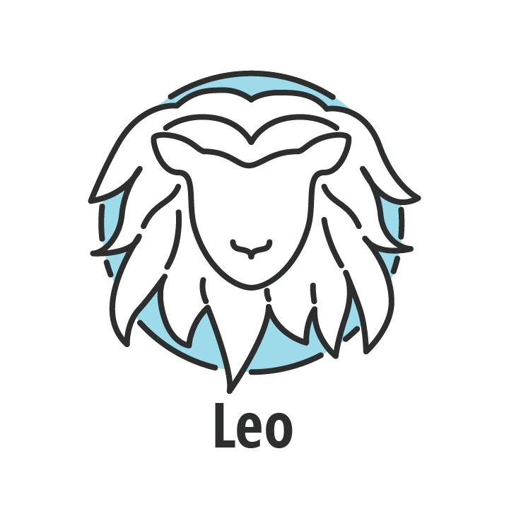 Signo zodiaco leo en fondo azul.