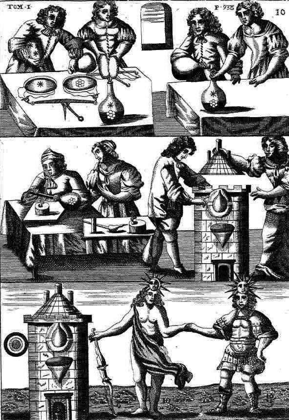 """O alquimista e sua esposa, """"trabalhando"""" de comum acordo. (Gravura do """"Mutus Liber"""", La Rochelle, 1674.)"""