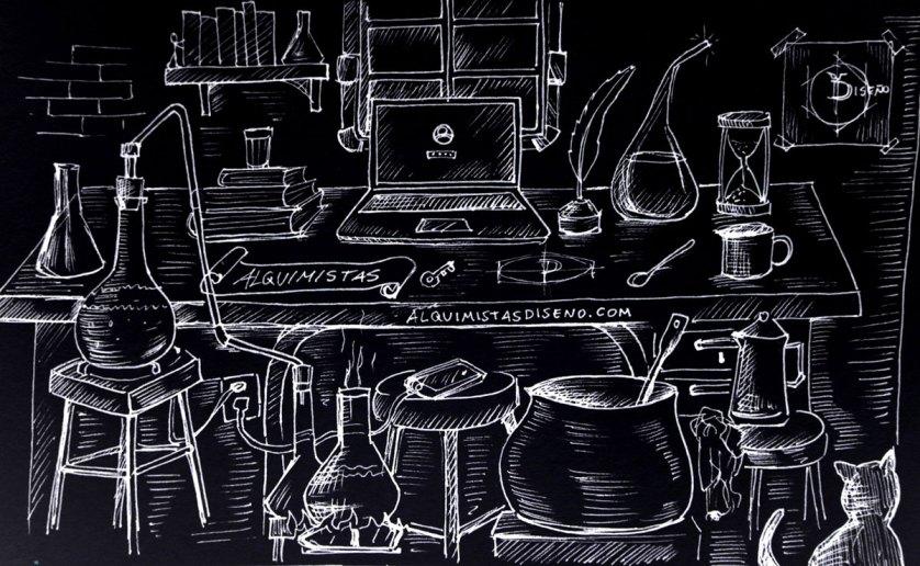 Alquimia y tecnología: Ilustración tradicional
