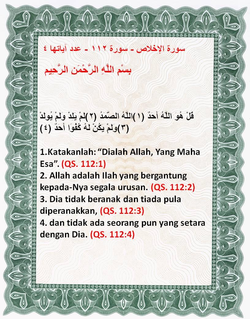 Surah Al Ikhlas Dan Artinya : surah, ikhlas, artinya, Surah, Ikhlas, Terjemahan, Quran