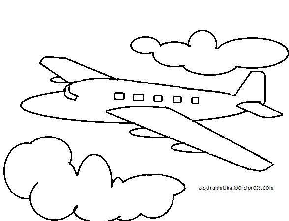 Mewarnai gambar pesawat terbang anak muslim  alquranmulia
