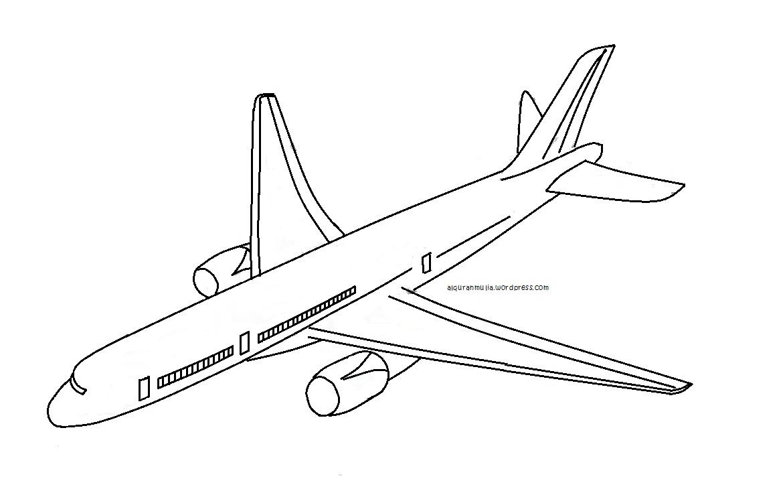 Mewarnai gambar pesawat terbang2 anak muslim  alquranmulia
